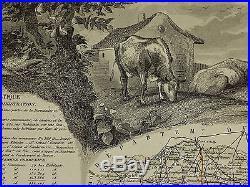 1856 Map France Department De L'orne Alencon Argentan Domfront