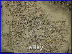 1856 Map France Department De L'yonne Auxerre Avallon Joigny Sens Tonnerre