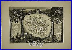 1856 Map France Department De La Creuse Gueret Aubusson Boussac