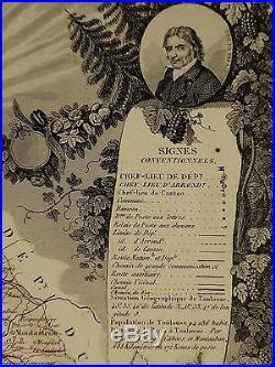 1856 Map France Department De La Haute Garonne Toulouse Muret St Gaudens Totaux