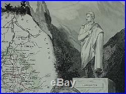 1856 Map France Department De La Haute Loire Brioude L Puy Yssengeaux