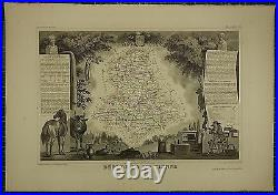1856 Map France Department De La Haute Vienne Limgoes Ponsac Nieul Ambaza