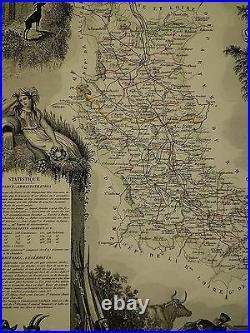 1856 Map France Department De La Loire Montbrison Roanne Perreux St Etienne