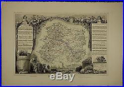1856 Map France Department De La Marne Chalons Reims Epernay Vertus Menehould