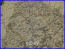 1856 Map France Department De La Sarthe Le Mans Calais La Fleche Montfort
