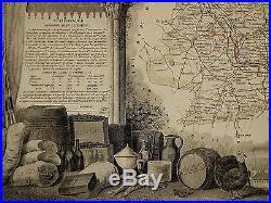 1856 Map France Department De Lot Et Garonne Agen Marmande Nerac Castelmoron
