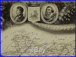 1856 Map France Department De Tarn Et Garonne Montauban Moissac Castel Sarrasin