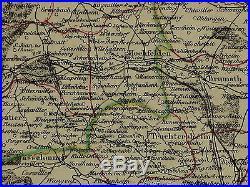 1856 Map France Department Du Bas Rhin Strasbourg Saverne Schelestadt