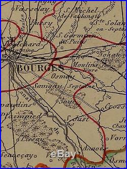 1856 Map France Department Du Cher Bourges St Amand Sancerre Baugy
