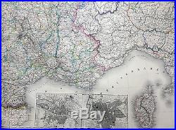 1857 Dufour Very Large Scarce Antique Map of France 1.5m x 1.15m, 6ft x 4ft
