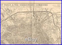 1863 Large Antique Map Dispatch Atlas- Plan Of Paris
