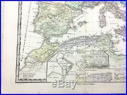 1865 Antique Map of Hispania Spain France Italy Roman Empire LATIN Engraving