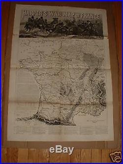 1870 Antique Map Harper's War Map Of France