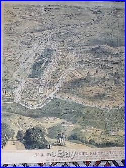 1870 Concanen Paris Perspective Panorama View Old Antique Map Print VERY SCARCE
