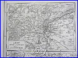 1870 Dated Map South West France + Lyon Paris Adolf Stielerhand Coloured