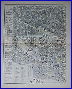 1883 Large Antique Town Plan Paris On Two Large Sheets