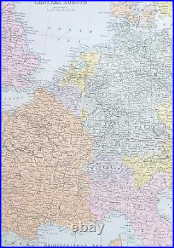 1887 Antique Map Central Europe France Switzerland Austria-hungary Poland