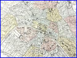 1893 Antique Map of Paris France City Street Plan Route Chart Old Hand Coloured
