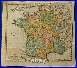 18th C Antique Map of France KAART VAN FRANKRYK by TIRION publ Amsterdam C 1740