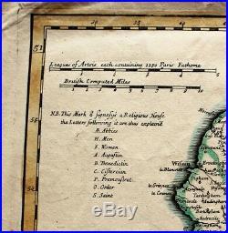 18th c. Hand Colored Map of Artois, France (Wm. De I'Isle-John Senex dated 1710)