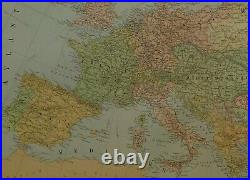 1902 ANTIQUE 25 inch MAP EUROPE RUSSIA AUSTRIA HUNGARY ITALY GERMANY FRANCE