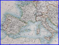 1904 Large Map Europe Spain France Austro Hungarian Monarchy British Isles Italy