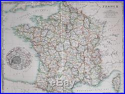 1904 Large Map France Orne Oise Somme Seine Corsica Inset Environs Of Paris