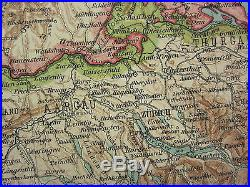 1907 Dated Map North East France Luxemburg Lorraine Alsace Bayern
