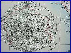 1910 Map France Environs Of Paris Somme Lot Correze Loire Corsica