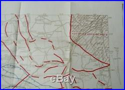 1918 US Army WWI Trench War Meuse Arggone France Commander in Chief Map-Antique