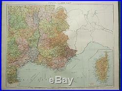 1919 Large Map France South East Var Marseilles Toulon Inset Corsica