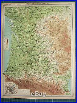 1921 Large Map France South-western Section Pau Tarbes Bordeaux Plan Toulouse