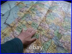 1930's Large Linen School Wall Maps of France x2 Tableaux Cartes Toutey Ed Lesot