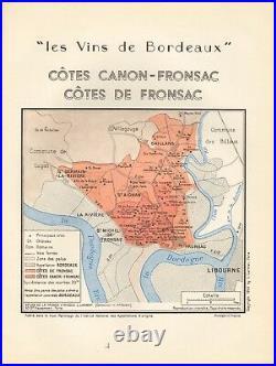 1949 Wine Map-france-vins De Bordeaux- Cotes Canon Fronsac, Cotes De Fronsac