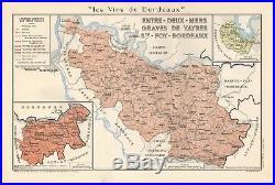 1949 Wine Map-france-vins De Bordeaux- Entre Deux Mers, Graves De Vayres, St Foy