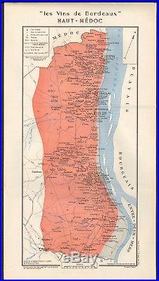 1949 Wine Map-france-vins De Bordeaux- Haut Medoc