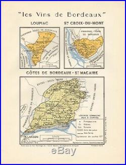 1949 Wine Map-france-vins De Bordeaux- Loupiac, St Croix Du Mont, St Macaire