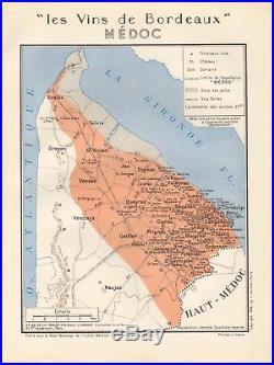 1949 Wine Map-france-vins De Bordeaux- Medoc