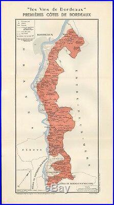 1949 Wine Map-france-vins De Bordeaux- Premieres Cotes De Bordeaux