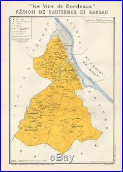 1949 Wine Map-france-vins De Bordeaux- Region De Sauternes Et Barsac