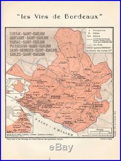 1949 Wine Map-france-vins De Bordeaux- St Emilion, Lussac, Montagne, Parsac, Puisse