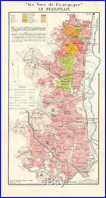 1953 Wine Map-france-vins De Bourgogne-le Beaujolais, Full Extent