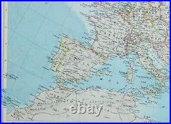 1955 Large Map Europe British Isles Spain France Romania Greece Poland Germany