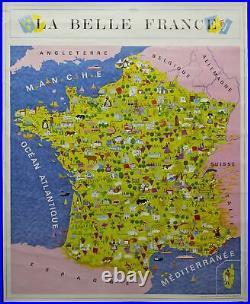 1971 Le Belle France Pictorial Map Poster Geisler Publishing Co Vintage Original