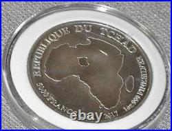 2017 CHAD African Lion Map Antique OLD Genuine 99.99 Silver 5000 Francs Coin