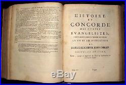 2vol 1700 HOLY BIBLE Sainte FRENCH Latin BIBLIA SACRA Map VULGATE Antique SET NT