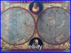 ANTIQUE ASTRONOMY ASTROLOGY Zodiac Map Of Heavens DISPLAY HOME DECOR RARE