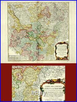 ANTIQUE MAP-HAUT ET DU BAS RHIN-FRANCE-Vaugondy-1753