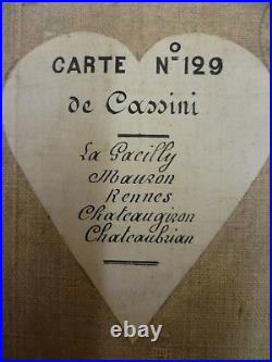AN HISTORICAL (c mid 1800s) CANVAS BACKED FRENCH MAP.'CARTE DE CASSINI' No 129