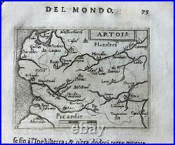 ARTESIA, (Artois), Ortelius' map, Italian edition pocket atlas, 1667ca